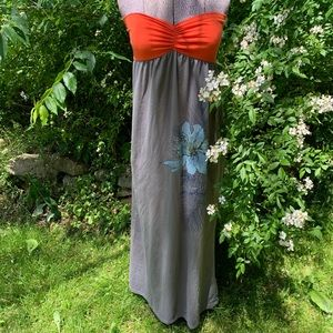 Rewind Strapless Maxi Dress Flower Print